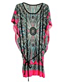 Summer Retro Vintage Bohemian Casual Dresses Women Plus Size Silk Dress (Rose Red)