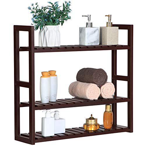 (SONGMICS bamboo bathroom shelves, 3-Tier Utility Storage Shelf Rack, Bamboo Adjustable layer Bathroom Towel Shelf Multifunctional Kitchen Living Room Holder Wall Mounted Brown UBCB13Z )
