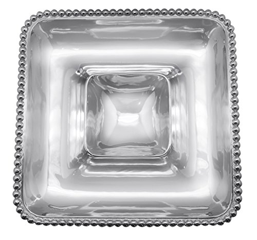 Mariposa 2352 Pearled Square Chip and dip, One Size, Silver