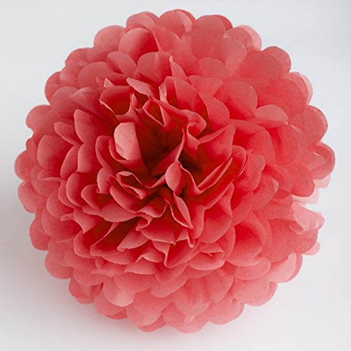 Daily Mall DIY Tissue Paper Flower 10pcs 8 inch 10 inch Decorative Hanging Flower Balls Craft Paper Pom Poms For Wedding, Baby Shower, Birthday, Party Decorations - Coral Mall