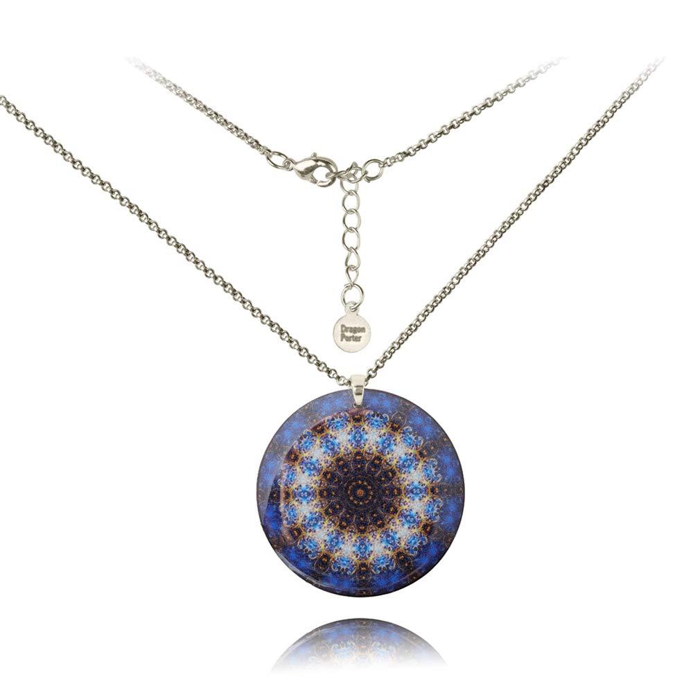 Halskette Kette Mit Runden Mitternachts Blau Anhänger Kaleidoskop von Dragon Porter