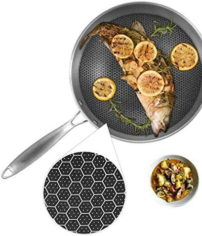 Pot Pots de cuisson Casseroles Poêle à frire wok Casserole Poêle à frire en acier inoxydable 304 Sans revêtement Aucune huile Fumée Poêle à frire antiadhésive à gaz