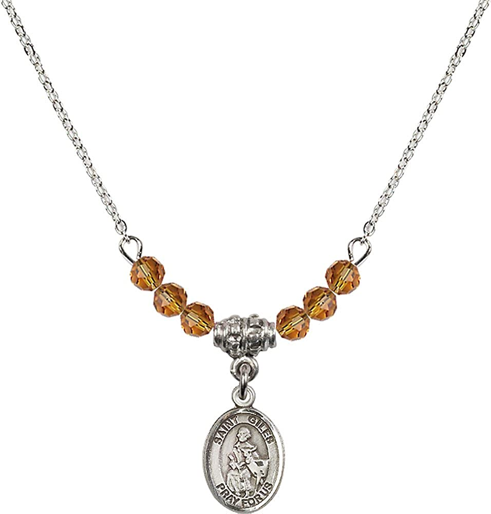 18-Inch Rhodium Plated Necklace with 4mm Topaz Birthstone Beads and Sterling Silver Saint Giles Charm.