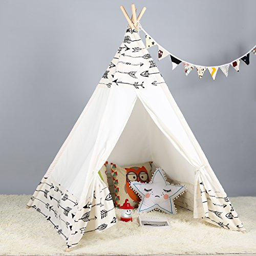 - Steegic Kids Teepee Indoor Play Tent - Large Cotton Canvas Children Indian Tipi Playhouse with Carry Case