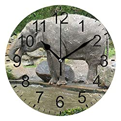 Senwei Wildlife Elephant Water Funny Animal Wall Clock Decorative Living Room Bedroom Kitchen Battery Operated Round Clock Art for Home Decor Unique