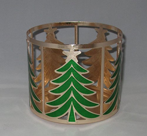 Bath & Body Works Gold Christmas Trees 3 Wick Candle Sleeve Holder by Bath & Body Works