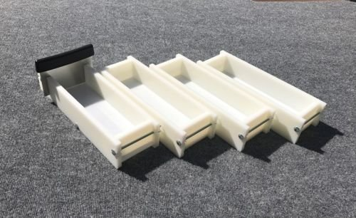 Lot of 3 HDPE Soap Loaf Making Mold and Single Slot Soap Cutter 3 - 4 lb ea mold