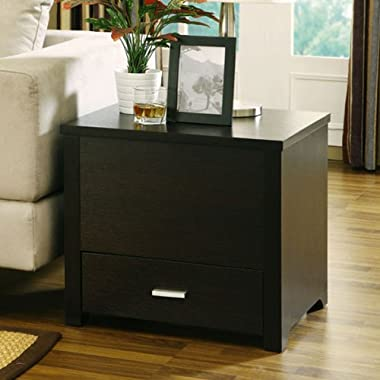 Garretson Contemporary Style Espresso Finish Storage Box End Table