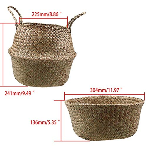 Best Quality - Storage Baskets - Seagrass Storage Basket Rattan Belly Basket Natural Flower Plant Toys Bag Holder Laundry Basket Container Home Decoration - by - 1 PCs (Wholesale Wicker Hampers)