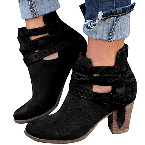 XMWEALTHY Women's Chunky Heels Boots Buckle Strap Block Heels Ankle Booties Black US (Leather Buckle Boot)