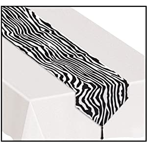 High Quality Printed Zebra Print Table Runner Party Accessory (1 Count) (1/Pkg)