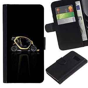A-type (Resumen minimalista Smart Car) Colorida Impresión Funda Cuero Monedero Caja Bolsa Cubierta Caja Piel Card Slots Para Samsung Galaxy S6