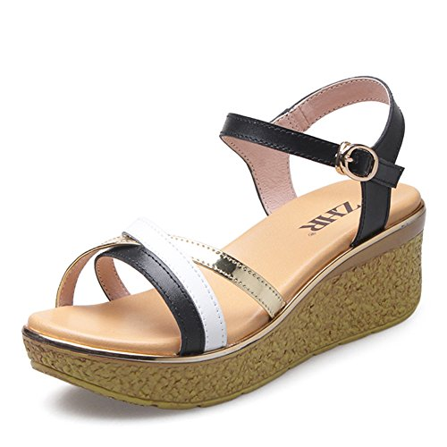 Thick Casual Sandals Band Summer The Wedge Korean Heel Shoes Of Leather Of A soled Version In High Sandals Shoes wBSa0q