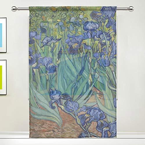 (KUWT Window Sheer Curtains Van Gogh Iris Flower Voile Curtain Drapes for Living Room Door Kitchen Bedroom 55x78 inches, 1 Panel)