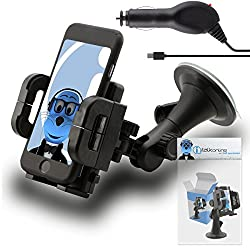 iTALKonline Samsung R580 Profile Black Multi-Directional Dashboard / Windscreen, Case Compatible (Use with or without your existing case!) Clip On Suction Mount In Car Holder with 1000 mAh MicroUSB In Car Charger with LED and overload protection