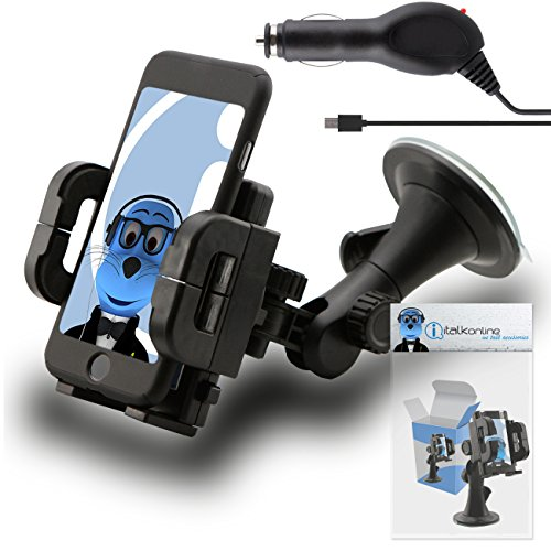 Price comparison product image Black Multi-Directional Dashboard / Windscreen, Case Compatible (Use with or without your existing case!) Clip On Suction Mount In Car Holder with 1000 mAh [1A] MicroUSB In Car Charger For LG G4 H815