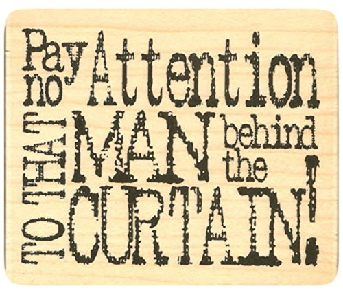 {Single Count} Unique & Custom (2 3/4 by 2 1/2 Inches) Pay No Attention, Wizard of Oz Quote Rectangle Shaped Genuine Wood Mounted Rubber Inking (Scrubs Wizard Of Oz)