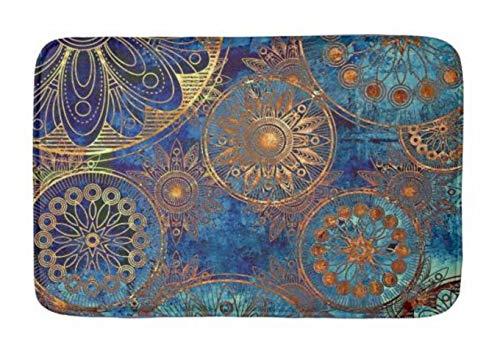 Celestial Bath - Lovestand-Doormat Welcome Mat Indoor/Outdoor Bath Floor Rug Decor Art Print with Non Slip Backing 16X24 inch Blue and Gold Celestial Bath mat Custom Colors