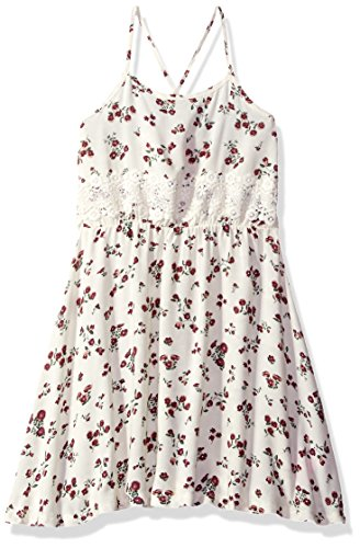Dream Star Little Girls' Printed Challis Cross Back Dress with Crochet Trim, Vanilla, L/6
