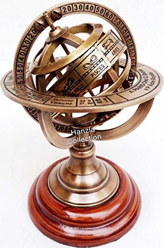 THORINSTRUMENTS (with device) Brass Armillary Sphere Astrolabe On Wooden Base Maritime Nautical & Collectible