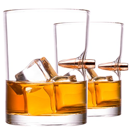 .308 Real Bullet hand-blown Whiskey Rocks Glass Set of 2
