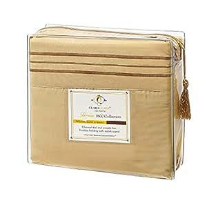 Clara Clark Premier 1800 Collection 4pc Bed Sheet Set - Cal King Size, Camel Gold,