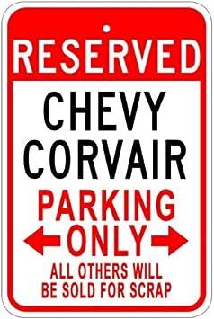 Chevrolet Corvair Aluminium Parking Sign Blanc 10 x 14 inches Aluminium