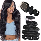 Cheap GRACE PLUS Brazilian Hair Body Wave 3 Bundles with 3 Part Closure 7A Unprocessed Virgin Brazilian Hair Body Wave with Lace Closure Human Hair Extensions Bundles with Closure(4×4) (14 16 18+10)