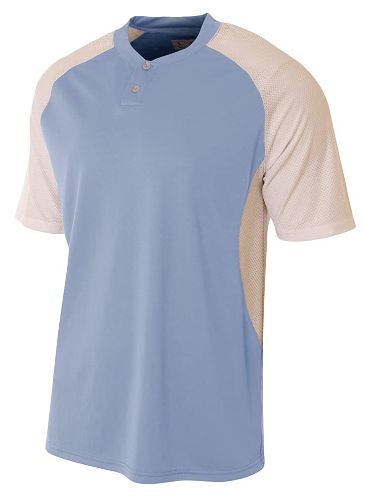 X-Small A4 Contrast Henley LT Blue//White