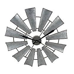 Metal Wall Clocks Rustic Distressed Metal Windmill Wall Clock 22 Inch - 22 X 22 X 1 Inches - Silver