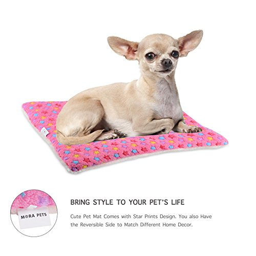 Mora Pets Ultra Soft Pet (Dog/Cat) Bed Mat Cute Prints | Reversible Fleece Dog Crate Kennel Pad | Machine Washable Pet Bed Liner (24-inch, Pink) by Mora Pets (Image #4)
