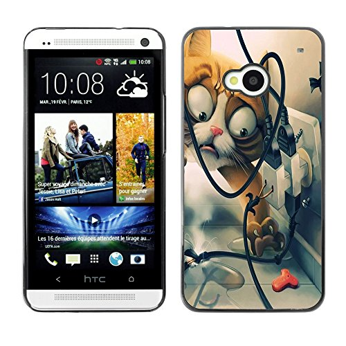 Soft Silicone Rubber Case Hard Cover Protective Accessory Compatible with HTC ONE M7 2013 - Funny Funny Cat