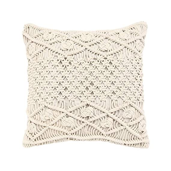 """REDEARTH Macrame Throw Pillow Cushion Covers-Woven Decorative Farmhouse Square Cases Set for Couch, Sofa, Bed, Farmhouse, Chair, Dining, Patio, Outdoor, car; 100% Cotton (18x18; Natural) Pack of 2 - 100% Cotton; 18 x 18 Inch / 45 x 45cm (1-1.5 cm deviation) Set of 2 decorative cushion covers. They fit perfectly on 18""""x18"""" pillow inserts/fillers. For a fuller and plump look, 20x""""20"""" filler can be used. PILLOW INSERTS ARE NOT INCLUDED. The bohemian throw pillow cases are made up of hand knotted macrame in the front and cotton canvas at the back. These cushion covers can add a touch of elegance to any kind of décor and living space. Hidden zipper used for seamless look and durability; the product is tested for shrinkage, color fastness and seam slippage - patio, outdoor-throw-pillows, outdoor-decor - 51YXet0jGZL. SS570  -"""