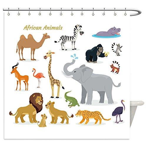 Vanfan Shower Curtains african fauna species cute african animals flat vector southern predators camel zebra rhino 516668872 For Bathroom
