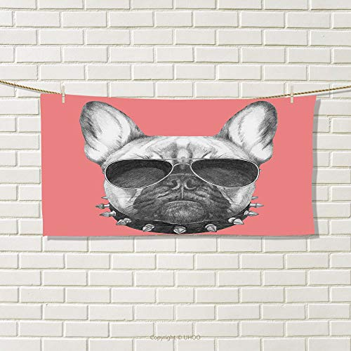 smallbeefly Bulldog Sports Towel Hand Drawn Style Dog Portrait with Collar and Sunglasses on Pink Backdrop Absorbent Towel Black Grey and Pink Size: W 12