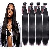 RESACA 8A Malaysian Straight Hair 4 Bundles Deals 24 26 28 30 inches 100% Unprocessed Malaysian Virgin Human Hair Weave Bundles Remy Hair Extensions 400g Natural Black