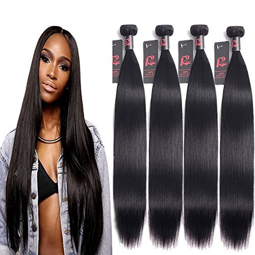 RESACA 8A Malaysian Straight Hair 4 Bundles Deals 24 26 28 30 inches 100% Unprocessed Malaysian Virgin Human Hair Weave Bundles Remy Hair Extensions 400g Natural Black by RESACA