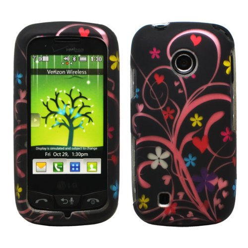 Black Pink Vine Purple White Blue Daisy Flower Red Heart Design Rubberized Snap on Hard Shell Cover Protector Faceplate Skin Case for Verizon LG Cosmos Touch VN270, LG Attune MN270, LG Beacon + LCD Screen Guard Film