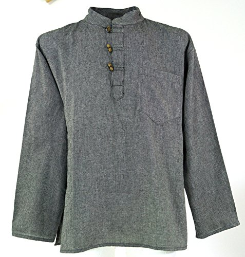 Nepal Fischerhemd Goa Hippie - grau / Männerhemden/ Variante: