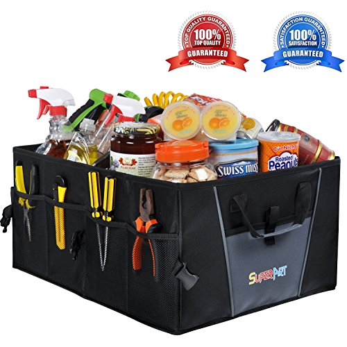 Car Trunk Organizer Premium Foldable Cargo Container Sturdy Clutter Great For Car SUV Truck Minivan Home - Collapsible For Easy Storage