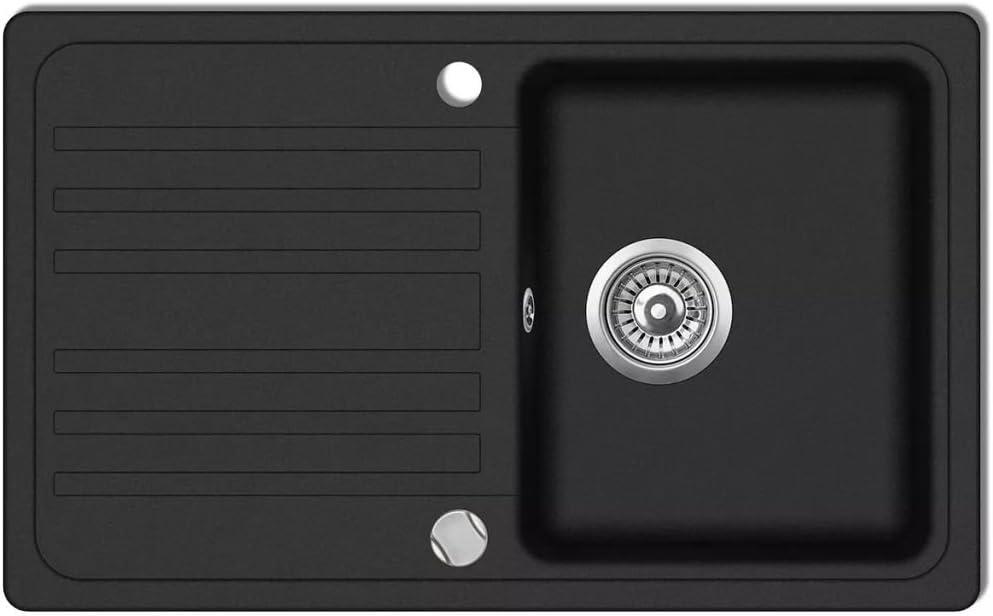 vidaXL Granite Kitchen Sink Single Basin with Drainer Reversible Black Fixture