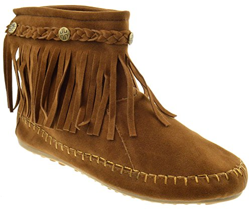 TG 01 Fringe Moccasin Ankle Boots Tan 6 (Indian Boots)