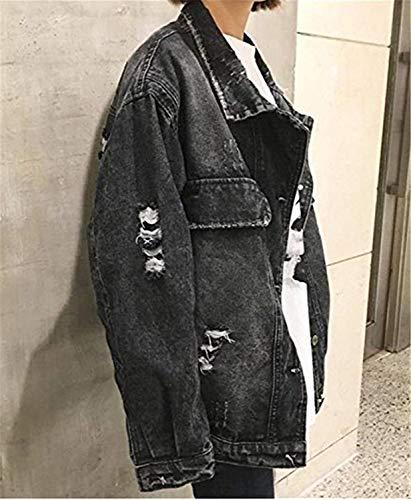 Manga Jacket Anchos Outerwear Huixin De Abrigos Agujeros Elegantes Cazadoras Otoño Mujer Vintage Primavera Casuales Vaqueras Boyfriend Denim Estilo Ropa Rasgado Larga Solapa Negro 4RWRZp