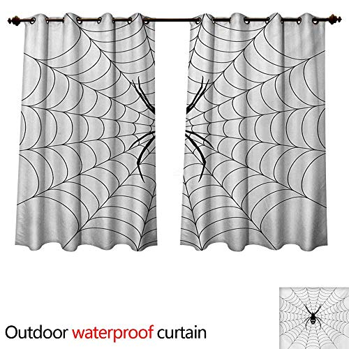WilliamsDecor Spider Web Home Patio Outdoor Curtain Poisonous Bug Venom Thread Circular Cobweb Arachnid Cartoon Halloween Icon W63 x L63(160cm x 160cm) for $<!--$49.60-->