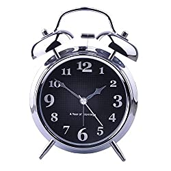 hito 4 Chrome Silver Silent Alarm Clock Battery Operated Night Light Extra Loud Alarm for Heavy Sleepers Kids