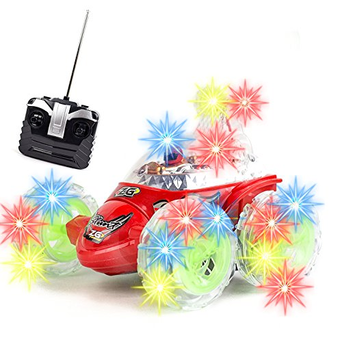 Rc Rolling Stunt Car 360 Degree Spinning And Flips With Color Flash   Music For Kids Invincible Tornado Twister Remote Control Truck  Colors May Vary
