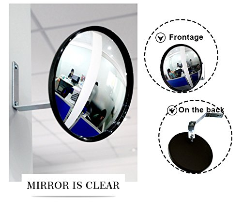 Convex Mirror for Security and Safety Circular Acrylic Security Mirror 9''(22cm) for Blind Spots at Home, Driveway, Offices, Stores and Traffic with Adjustable Fixing Bracket Traffic Mirror by StartFine