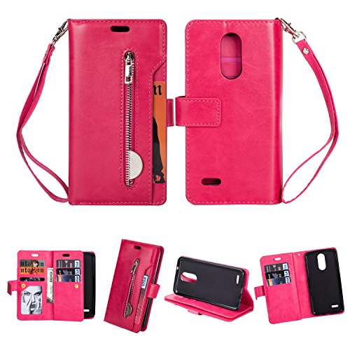 - K8 2017 Case,Folice Zipper Wallet Case [Magnetic Closure]& 9 Card Slots, PU Leather Kickstand Wallet Cover Durable Flip Case for LG Aristo (MS210), LG K8 2017 (US215), LG LV3 (Rose RED)