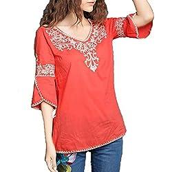 kafeimali bordado de la mujer mexicano Bell manga algodón blusas Tops Camisa Túnica, Rojo