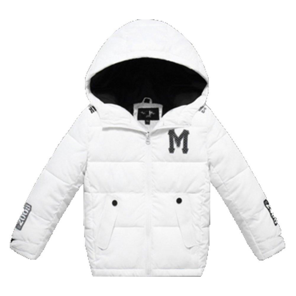 Blanc 120CM OHmais Unisexe enfant garçon fille veste d'hiver hommeteau à capuche